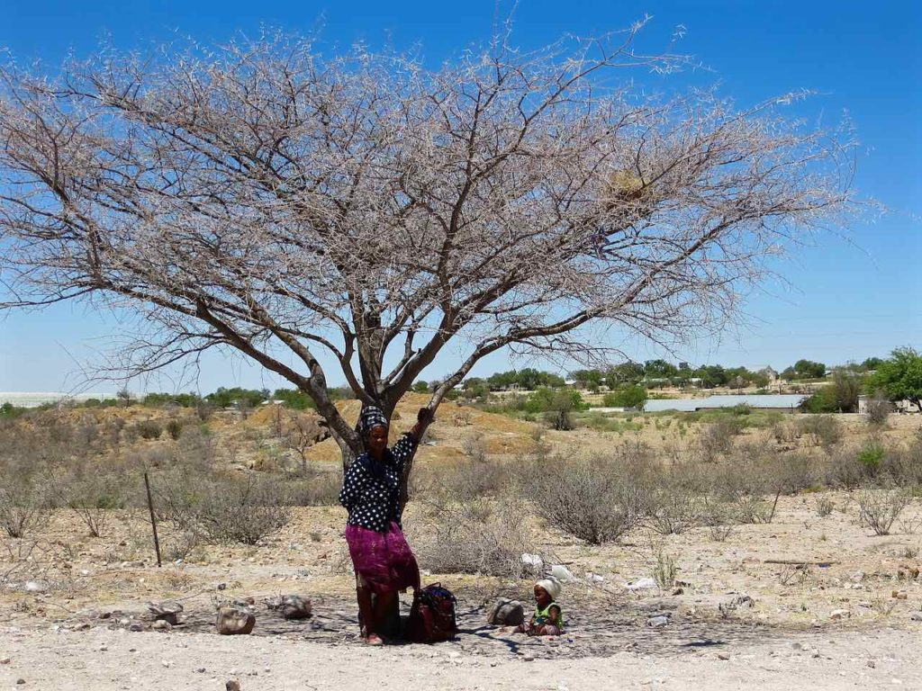 a woman standing with her child in the shade of tree