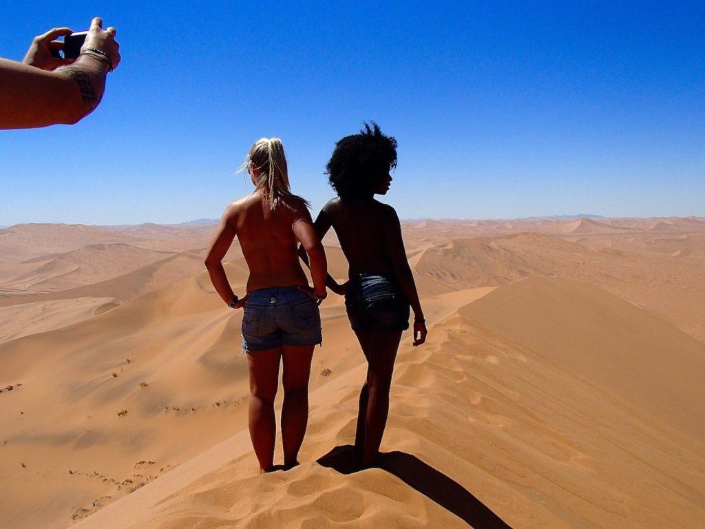 two beautiful ladies in NAMIB DESERT