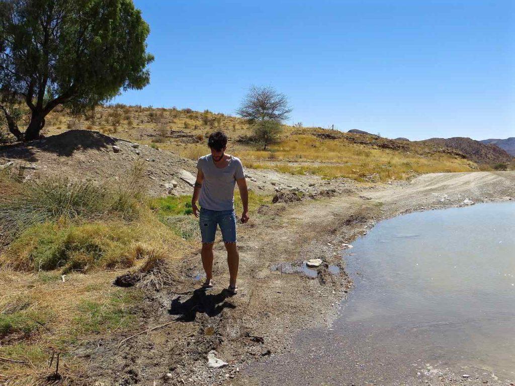 a man at NAMIB DESERT
