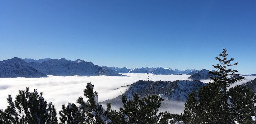 The beautiful snow covered German Alps from Herzogstand