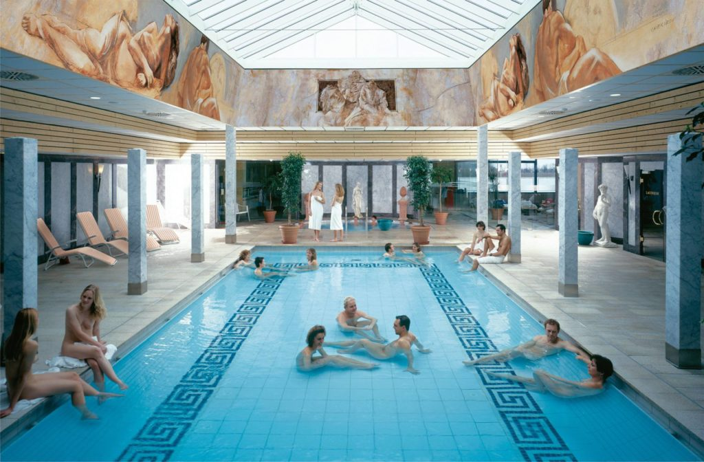 Relaxing in the Roman bath at Therme Erding was incredible