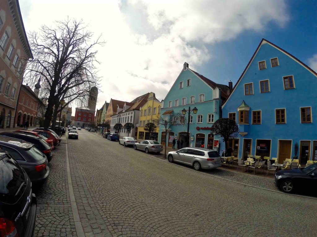 Beautiful colorful old town Erding in Germany