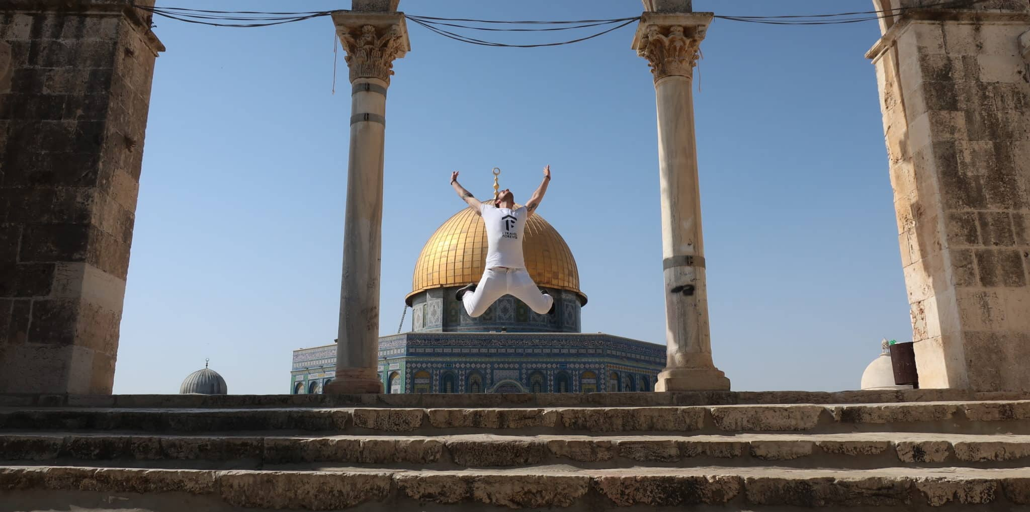 Jumping at Temple Mount in Jerusalem