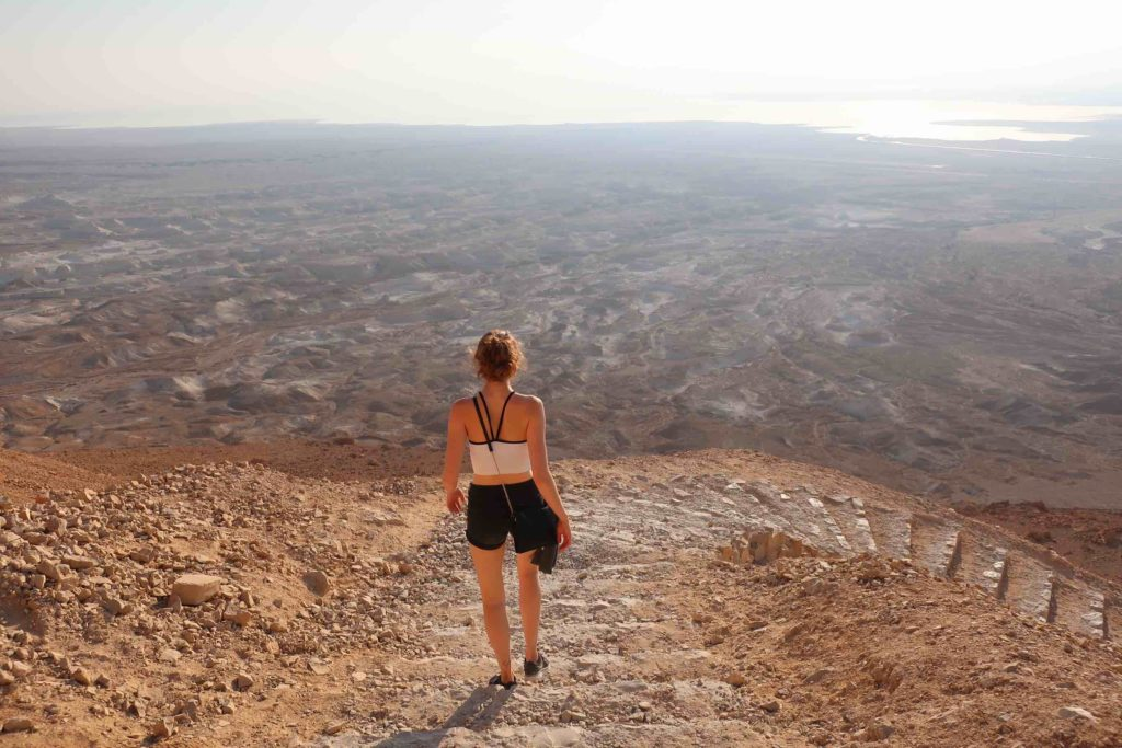 Hiking down Masada mountain in Israel