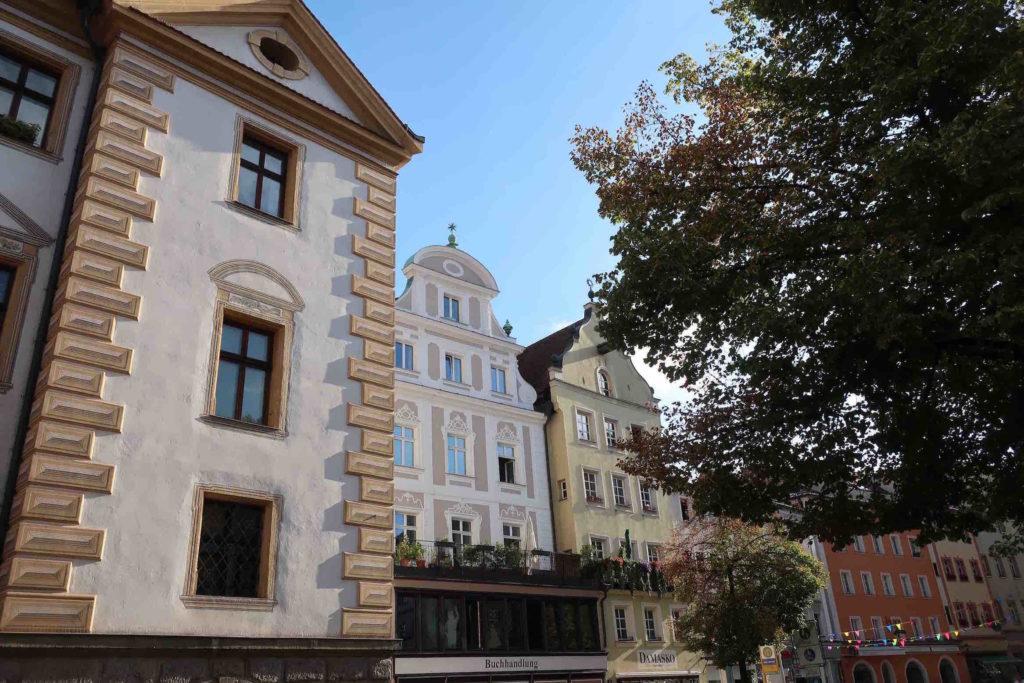 Rathausplatz in the old town in Regensburg