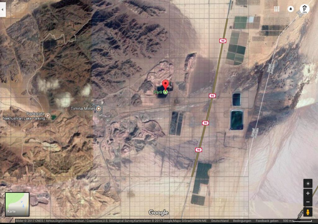 The location of the secret lake in Timna Park near Eilat in Israel, definitely a local hotspot