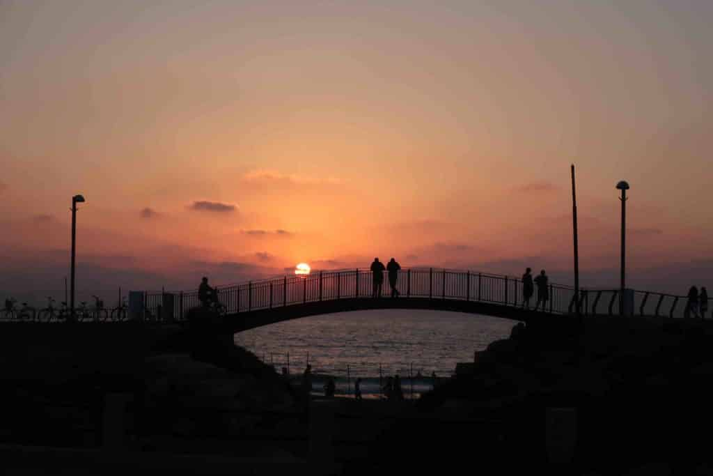 Beautiful sunset at Charles Clore Beach in Tel Aviv