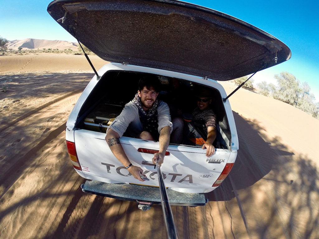 Happy hitchhike selfie