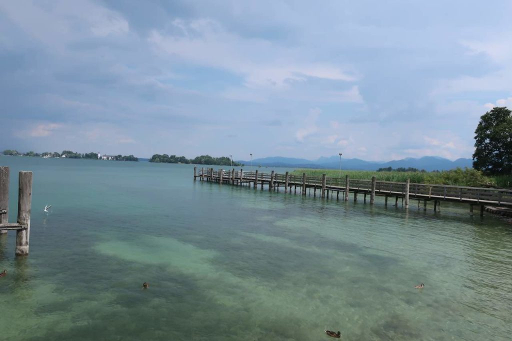 beautiful scene of chiemsee lake